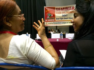 "During the ""Women's Rights: Domestic Violence"" seminar on Sept. 5, 2015, in Jamaica, Queens, Husne Ara Begum, a human rights activist, (left) discusses the issue at hand."